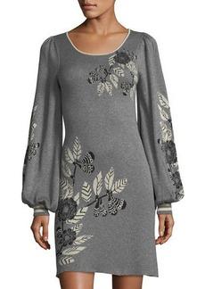 Max Studio Floral Jacquard Long-Sleeve Sweater Dress