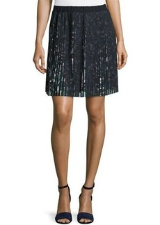 Max Studio Floral-Print Accordion-Pleated Skirt
