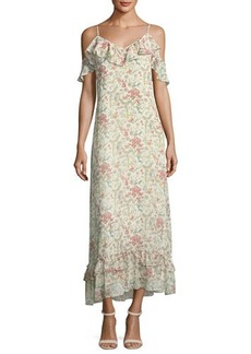 Max Studio Floral-Print Chiffon Maxi Dress