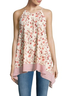 Max Studio Floral-Print Cotton Asymmetric Top