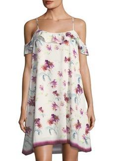 Max Studio Floral-Print Crosshatch-Crepe Dress