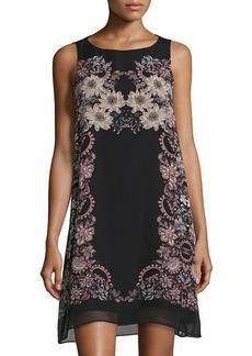 Max Studio Floral-Print Georgette Trapeze Dress