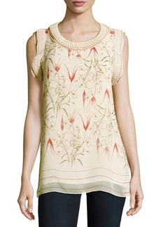 Max Studio Floral-Print Knife Pleated Top