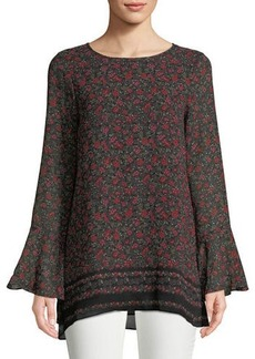 Max Studio Floral-Print Long-Sleeve Top