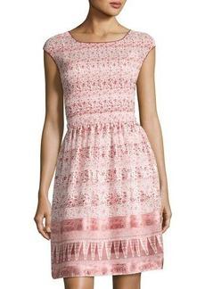 Max Studio Floral-Print Pleated Dress