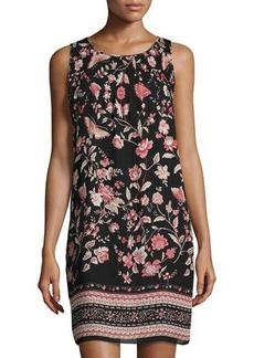 Max Studio Floral-Print Ruched-Yoke Dress