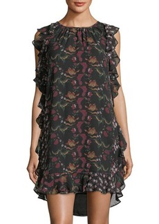 Max Studio Floral-Print Ruffled Georgette Dress