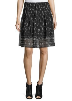 Max Studio Floral-Print Smocked-Waist Skirt
