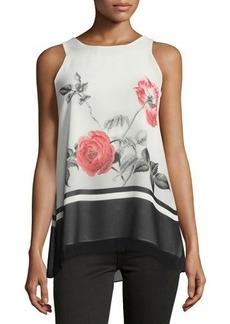 Max Studio Floral-Print Trapeze Shirt