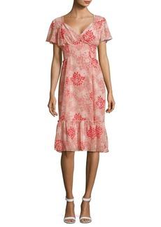 Max Studio Floral-Print V-Neck Dress
