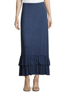 Max Studio Flounce-Hem Jersey Maxi Skirt
