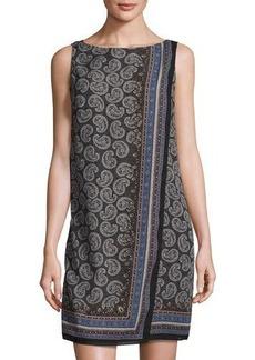 Max Studio Fold-Over Wrap Paisley-Print Dress