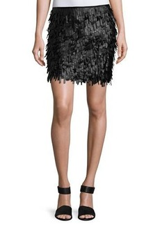 Max Studio Fringed Faux-Leather Mini Skirt