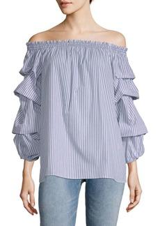 Gathered Sleeve Off Shoulder Blouse