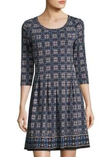 Max Studio Geometric-Print Jersey A-line Dress