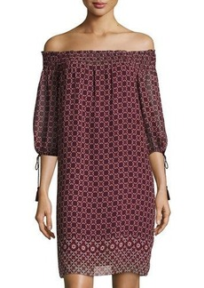 Max Studio Geometric-Print Off-the-Shoulder Smocked Dress
