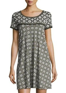 Max Studio Geometric-Print T-Shirt Dress
