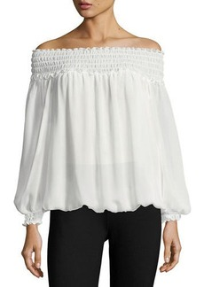 Max Studio Georgette Crepe Smocked-Trim Blouse