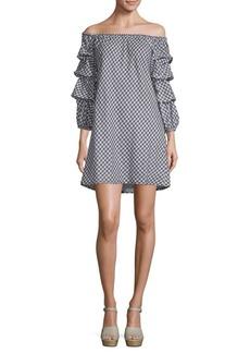 Max Studio Gingham Off-Shoulder Shift Dress