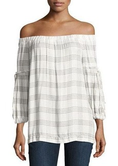 Max Studio Grid Off-the-Shoulder Blouse