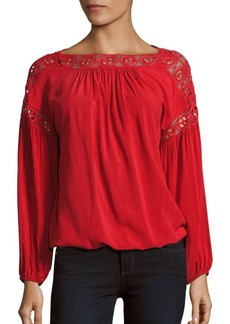 Max Studio Habutai Lace Embroidered Blouse