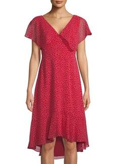 Max Studio Heart-Print Flutter-Sleeve Ruffled Chiffon Dress