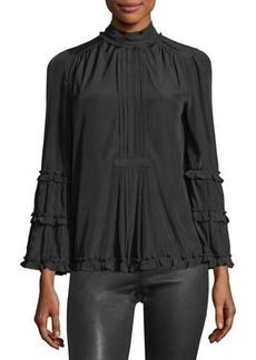 Max Studio High-Neck Bell-Sleeve Ruffle Blouse