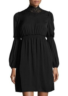 Max Studio High-Neck Bubble-Sleeve Dress
