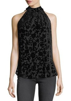 Max Studio High-Neck Burnout-Velvet Sleeveless Blouse