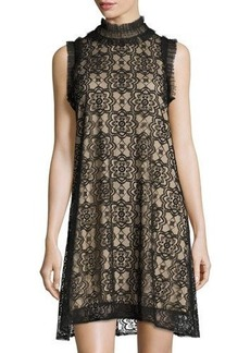 Max Studio High-Neck Lace-Overlay Dress