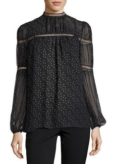 Max Studio High-Neck Printed-Georgette Blouse