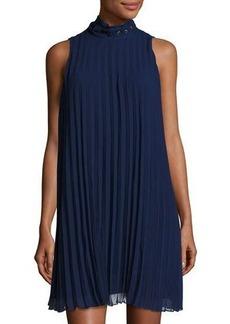 Max Studio High-Neck Sleeveless Pleated Dress
