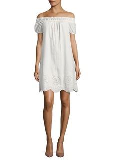 Max Studio Lace Detail Cotton Shift Dress