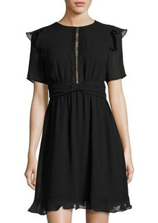 Max Studio Lace-Inset Georgette Dress