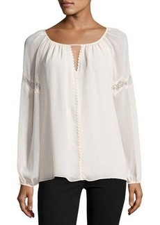 Max Studio Lace-Inset Georgette Top