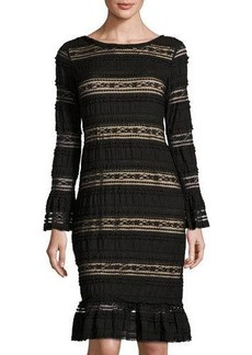 Max Studio Lace-Inset Long-Sleeve Sheath Dress