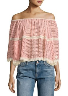 Max Studio Lace-Inset Off-the-Shoulder Printed Blouse