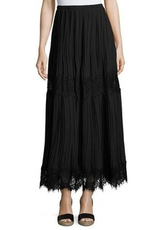 Max Studio Lace-Inset Pleated Georgette Maxi Skirt