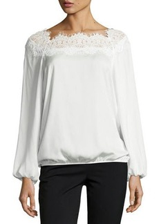 Max Studio Lace-Neck Bubble-Hem Blouse