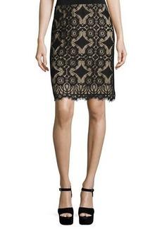 Max Studio Lace-Overlay Pencil Skirt