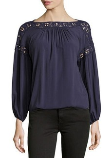Max Studio Lace-Trim Blouson Top