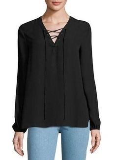 Max Studio Lace-Up Solid Blouse