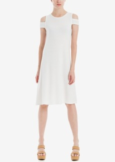 Max Studio London Cold-Shoulder Eyelet Shift Dress, Created for Macy's