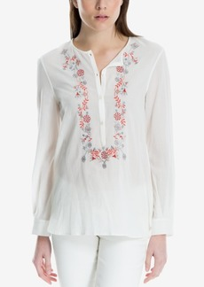 Max Studio London Cotton Embroidered Blouse, Created for Macy's