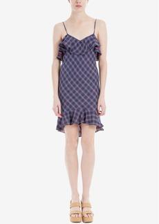 Max Studio London Cotton Plaid Flounce Dress