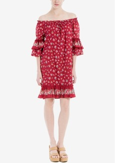 Max Studio London Cotton Ruffled Off-The-Shoulder Dress