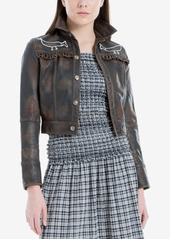 Max Studio London Cropped Leather Jacket, Created for Macy's