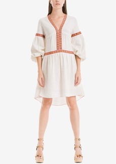 Max Studio London Embroidered Bubble-Sleeve Dress