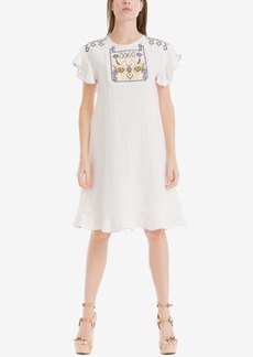 Max Studio London Flutter-Sleeve Embroidered Dress