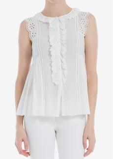 Max Studio London Lace-Trim Ruffled Shirt